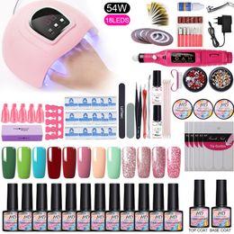 Kits de gel online-Uñas Gel UV de uñas Conjunto UV LED de la lámpara secadora con 12pcs polaco del gel del kit de la máquina eléctrica de Broca empapa de la manicura Herramientas