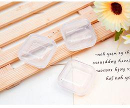 Anneaux carrés en plastique en Ligne-Boîte en plastique carrée petite mini couverture transparente produit emballage boîte bijoux bague boucles d'oreilles bouton boîte de rangement