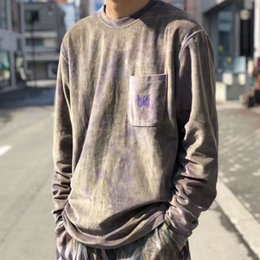 Tintura de gravata borboleta on-line-TS AGULHAS Tie-dye Borboleta Bordado Sweatershirt Retro Hip-hop Street Maré Hoodies Mens Designer Casais das Mulheres Camisola Cinza TSYSWY124