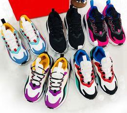 2019 zapatos de niña pequeña talla 7.5 Con Box Kids Nike air Max 270 React Zapatos para correr Niñas Niños Bauhaus RT Zapatos para niños Hyper Pink Bright Violet Zapatos para niños talla 24-35 zapatos de niña pequeña talla 7.5 baratos