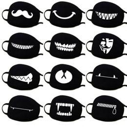 Mascarilla bucal contaminacion online-Detener la contaminación del aire Inicio de dibujos animados Máscaras de algodón encantadoras Mantener abrigado Accesorios de ropa para mujeres Negro Blanco Boca Mufla Protección respiratoria