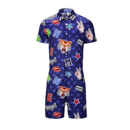 1d79a814747 Men 3D Graphic One Piece Rompers Casual Short Sleeve Romper Jumpsuit 2019  Hoiday Hawaiian Beach Playsuit Harem Cargo Overalls