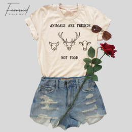 funny slogans Promo Codes - Animals Are Friends T Shirt Women Fashion Summer Cotton Tees Funny Slogan Cow Graphic Vintage Tops Amisetas Tumblr Vegan T Shirt