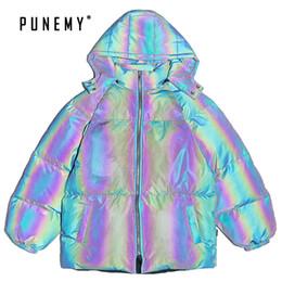 Laser riflettenti Uomini Parkas di Hip Hop a vento del Nord Canada Puffer cappotti Retro Streetwear Oversize da uomo con cappuccio Parkas Bomber