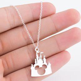 Ювелирные изделия микки онлайн-Lovely  Castle Cartoon Pendant Necklace for Women Children Cute Fairytale Animal Jewelry Graduation Gift Bijoux Femme