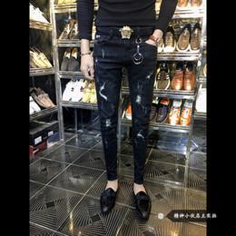 мужская мода джинсы cut Скидка Оптовые 2019 мода новый социальный Cut Hole уличная одежда ковбойские мужские брюки узкие джинсы мужские корейские тонкие ноги хип-хоп брюки