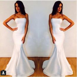 michael costello vestidos blancos Rebajas 2018 sin tirantes robe de soirée blanca del partido de la sirena Michael Costello Prom vestido de novia vestido de la dama de honor sencilla noiva