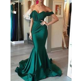 2019 простой изумрудно-зеленый с плеча развертки поезд с рюшами украшенный русалка платье выпускного вечера на заказ горячей продажи от
