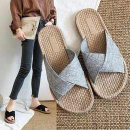 3d7bde5491 Newest designer sandals designer slides Linen Sandals women sandals luxury  linen cross slippers comfortable soft shoes beach flip flops