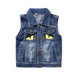 Giubbotto per bambini online-2-8y bambini gilet in denim giacca girocollo carino baby ragazzi vestiti bambino ragazze gilet bambini top usura
