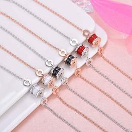 braccialetti in ceramica di zirconia Sconti Bracciale per unghie in argento 925 placcato oro rosa 18 carati con pendente in oro rosa 18 carati