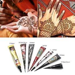 Henna tatuagens impermeável on-line-1 PC Tinta Preta Cor Henna Tatuagem Colar Tatuagem À Prova D 'Água Diy Desenho Tatuagem Body Art Pintura Para Stencil RRA1315