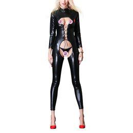 Cordes féminines liées en Ligne-Sexy Faux En Cuir Jumpsuit Femmes Noir Ouvert Entrejambe PU Combinaison En Cuir Avec Reliure Corde Plus La Taille Pole Dance Rompers