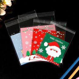 Bolsas de embalaje de galletas online-100PCS Christmas OPP Gifts Bag Cookie Candy Dragee Package Autoadhesivo Año Nuevo 2020 para Noel Home Party Embalaje Decoración