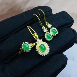 2019 smaragd halskette ohrring ring-sets Grüner Smaragd Edelstein Ring Ohrring und Halskette Schmuck-Set für Frauen günstig smaragd halskette ohrring ring-sets