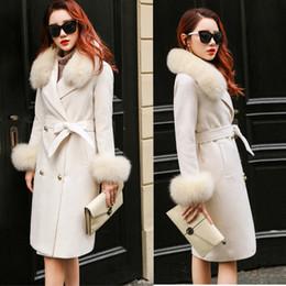 vestidos de lã de trabalho de lã Desconto Mulheres Inverno 2019 Casacos Outono e Casaco de Inverno Nova Rosa Casaco de lã tamanho grande gola de pele espessa longa feminina