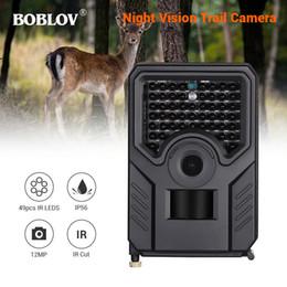 2019 cámara oculta al aire libre BOBLOV PR200 12MP 49PCS IR Leds Cámara de caza FHD 1920 * 1080P 25FPS Cámara de pista de exploración impermeable BLACKPR-200