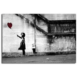 oil paintings art print canvas frame Coupons - Banksy There Is Always Hope HD Wall Art Canvas Poster And Print Canvas Painting Decorative Picture For Living Room Home Decor