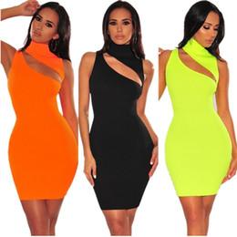 Sexy offener kragen online-Weibliche Stehkragen Kleid Aushöhlen Kleid Pullover Oblique Öffnung T-shirt Sexy Polyester Faser Komfort Orange Gelb 34md C1