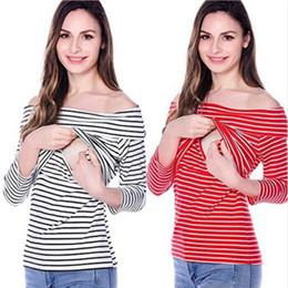 donne della camicia della camicia della barca Sconti Maglieria per allattamento per barca Maternità Tees Magliette madre T-shirt Donna a maniche lunghe Sucklings Slash Neck Simplicity Stripe 58