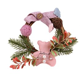 christmas wreaths for door Promo Codes - Mini Christmas Wreath Decor Xmas Party Door Wall Hanging Garland Tree Ornament Party Decor Christmas Decorations For Home
