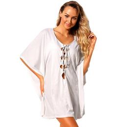 53ffbc7455 Sexy Women Beach Cover Lace Up Kaftan Swimwear Beachwear Loose Bikini Cover  Ups Tunic Dress Black White Robe De Plage 2019