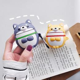 glückliche katze keychain Rabatt Für AirPods Schutzhülle Hedgehog Lucky Cat Dog Silikon Stoßfest Bluetooth Kopfhörer Tasche Headset Zubehör Schlüsselbund Anti Lost