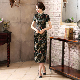 Сексуальное короткое платье молодое онлайн-Young Lady Vintage Кнопка Классический Qipao Плюс размер 3XL-6XL Длинные Платье с коротким рукавом платье китайский мандарин воротник Sexy Cheongsam