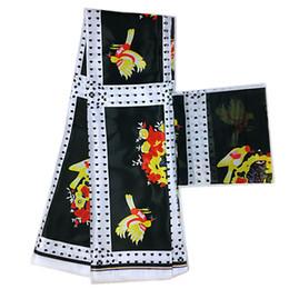 Imitato in seta e seta bianca e nera tessuto chiffon africano tessuto africano stampe cera africana ankara 4 + 2 yards da