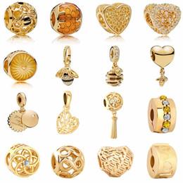 Fascino di miele online-Spedizione gratuita New Golden Heartbee Honey Comb Albero genealogico Infinity Flower Love Clipbead Adatto Pandora Charm Bracelet Mix051