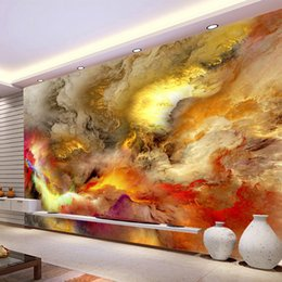 kunst 3d gemälde für wände Rabatt Moderne Abstrakte Kunst Tapete 3D Bunte Wolken Foto Wandgemälde Galerie Restaurant Cafe KTV Bar Kreative Wohnkultur