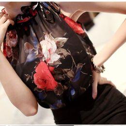 Рубашка с длинным рукавом онлайн-Blouse High Ruffle Neck 2016 Sexy Women Lady Clothing Chiffon Sleeveless Floral Pleated Shirt Tops Vintage Chiffon Beach Summer