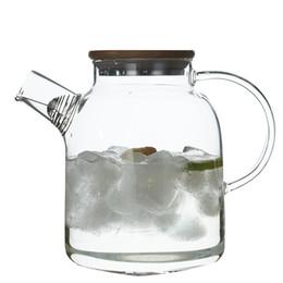 Teiera in vetro con coperchio in bambù Stufa in alto resistente al calore vetro borosilicato Bollitore Brocca per succo di tè acqua caffè 1800ml da