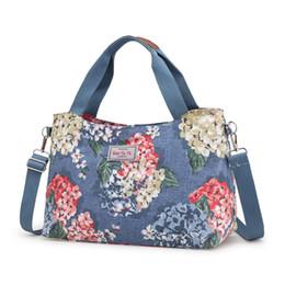 Großes blumendruckgewebe online-Taschen für Frauen 2018 Messenger Bags Fashion Print Floral Cross Body Schulter Canvas Hobo Nylon Stoff Large Damenhandtasche