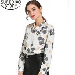 2019 стяжки 2019 New arrived women blouse OL style bow tie shirt in autumn fashion stand collar women top long sleeved slim fit blusa1059 40 скидка стяжки