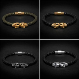 Couro genuíno mens pulseiras on-line-Beichong Mens Preto Pulseira De Couro Genuíno Northskull Trançado Homens de Aço Inoxidável Para As Mulheres de Ouro do Norte pulseira de caveira para mulheres dos homens