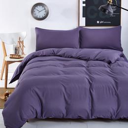 Lila bettwäsche setzt zwilling online-Neue Bettwäsche-Sets Geräucherte Lila Einfache Farbe See Blau Gestreiften Bettlaken Duver Bettbezug Kissenbezug Weiche König Queen Full Twin