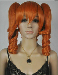 Pelucas de color naranja oscuro online-WIG D14Hot resistente al calor Party hairCosplay Dark Orange Spiral Resistente al calor Mediano Peluca + Dos coletas