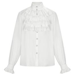 Weißer blusen-spitzenkragen online-Victorian Men White Stehkragen verziert Lace Ruffle Long Sleeves Tuxedo Shirts Retor Männer mittelalterlichen gotischen Prom Blusen Top 6XL