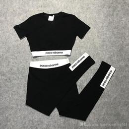 Рубашки с длинным рукавом для йоги онлайн-2019 новый летний Европейский мода женская высокая талия с коротким рукавом Письмо печати урожай топ футболка и спортивные йога длинные леггинсы twinset