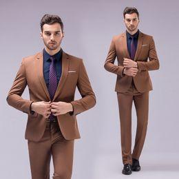 2019 jaqueta de smoking marrom De alta qualidade de um botão de luz marrom noivo smoking lapela groomsmen homens casamento ternos noivo (jaqueta + calça + colete) jaqueta de smoking marrom barato