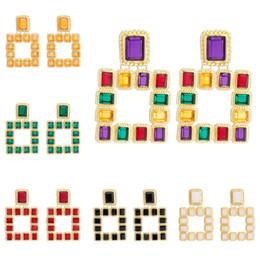 Mode Femmes Grand Géométrique Carré MultiColor Cristal Strass Pendentif Balancent Déclaration De Goutte Oreille Stud ? partir de fabricateur