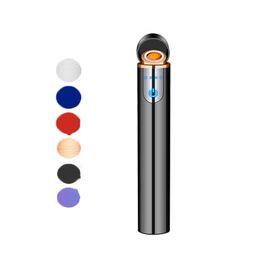 2020 mini encendedor recargable Mini USB recargable encendedor pantalla cilíndrica de sensores táctiles electrónicos tungsteno Cigarrillos sin llama a prueba de viento libre de DHL mini encendedor recargable baratos