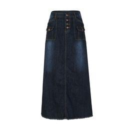 Юбка модного хараюку онлайн-Женская мода Длинная средняя талия Кнопка карман передний прямой джинсовый макси юбки Harajuku Faldas Mujer Moda 2018 юбки женские J190514