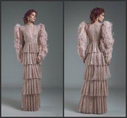 Elegante saia de penas on-line-2019 New Elegant Sheath Evening Dresses With Feathers V Neck Long Sleeves prom dresses tiered skirt red carpet special occasion dresses