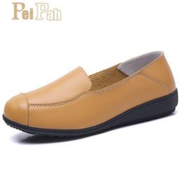 Mulheres grávidas couro on-line-PEIPAH Verão Sapatos de Enfermeiros de Couro Genuíno Fundo Macio Casuais Rasa Plana Sapatos Sólidos Confortáveis Mulheres Grávidas Ervilhas