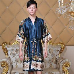 2019 vestidos chineses impressos Homens Kimono Roupão Estilo Chinês Robe Vestido de Impressão Flor Sleepwear Casual Nightwear Rayon Negligee Solto Lingerie Íntima vestidos chineses impressos barato