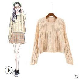 2018 otoño nuevo suéter de cuello redondo femenino coreano de manga larga color sólido suéter mujer suelta suéter de fondo desde fabricantes
