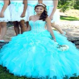 vestidos 15 cor coral Desconto Aqua Color Cascade Quinceanera Vestidos Top De Lantejoulas Frisado Querida Inchado Organza Lace Up Vestidos De 15 De Cristal Desossada Espartilho Top Baile 2018