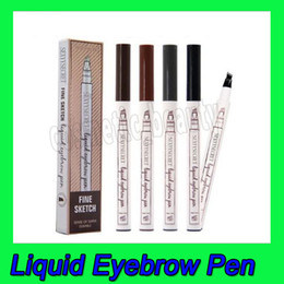 Geheimes make-up online-Sexy Secret Eye Make-Up Flüssige Augenbraue Stift Augenbraue Enhancer 4 Farben Vier Kopf Augenbraue Enhancer Make-Up